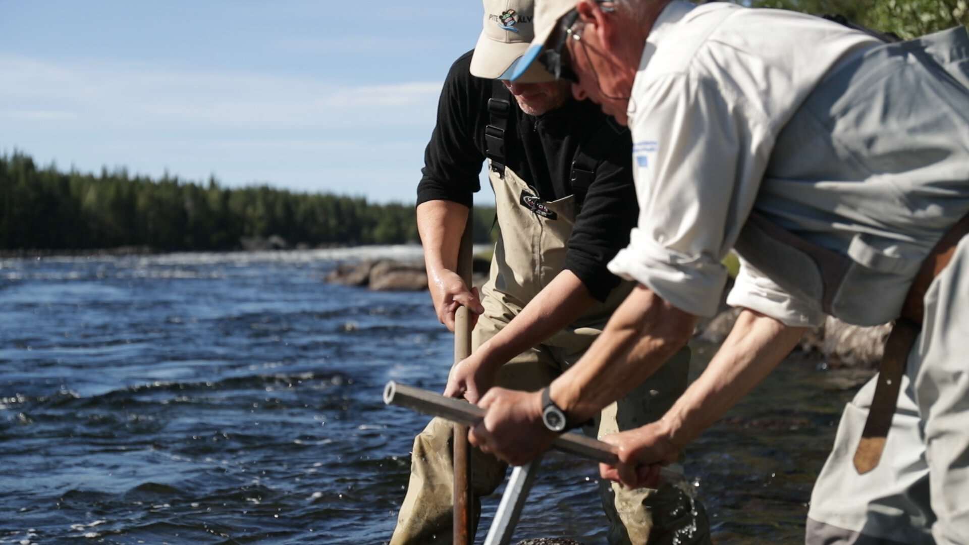 Restoring spawning grounds on the Pite River in the Swedish Lapland rewilding area.  Photo credit: Emmanuel Rondeau