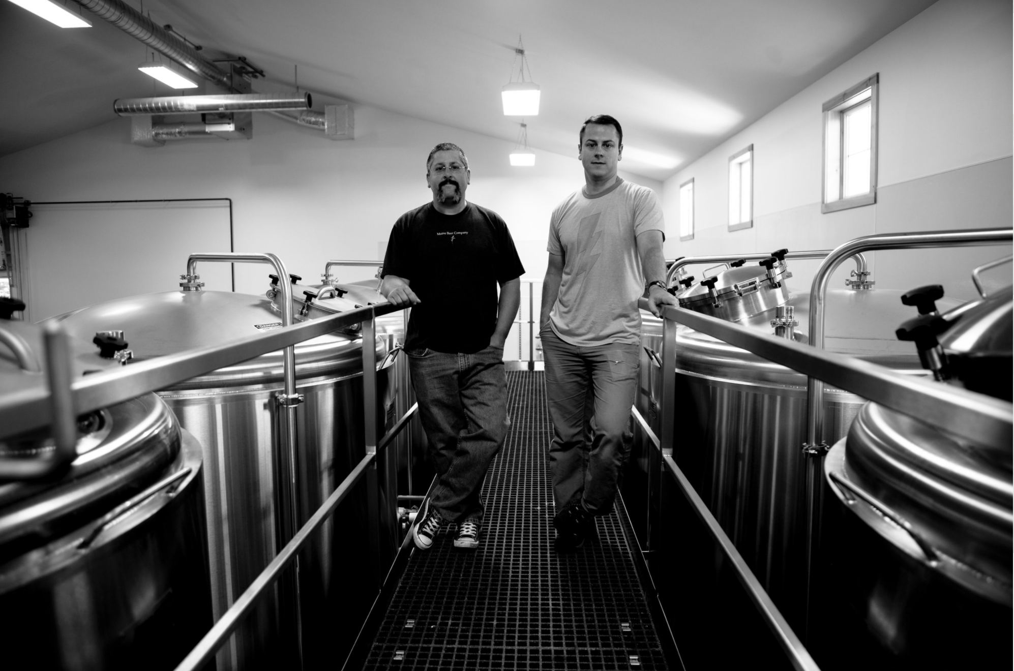 founders of Maine Beer Company in their brewing room